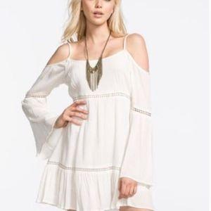 Patrons of Peace White Cold Shoulder Boho Dress Sm